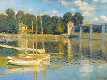 The Argenteuil bridge Claude Monet Wall  Decor Oil Painting Printed On Canvas Reproduction Customized