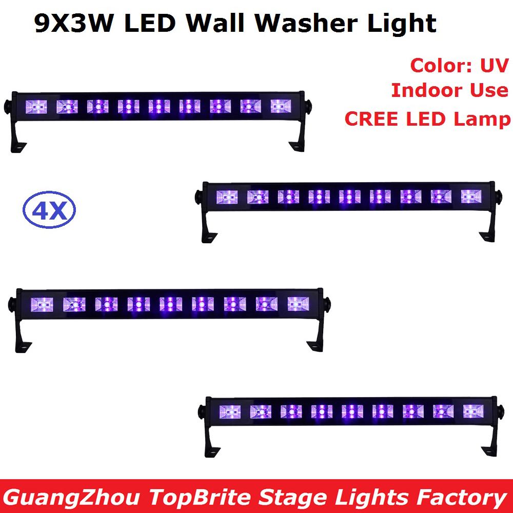 4Pcs/Lot LED Bar Light UV Color 9X3W LED Wall Wash Lights Perfect For Stage Party Wedding Events Lighting Fast Shipping