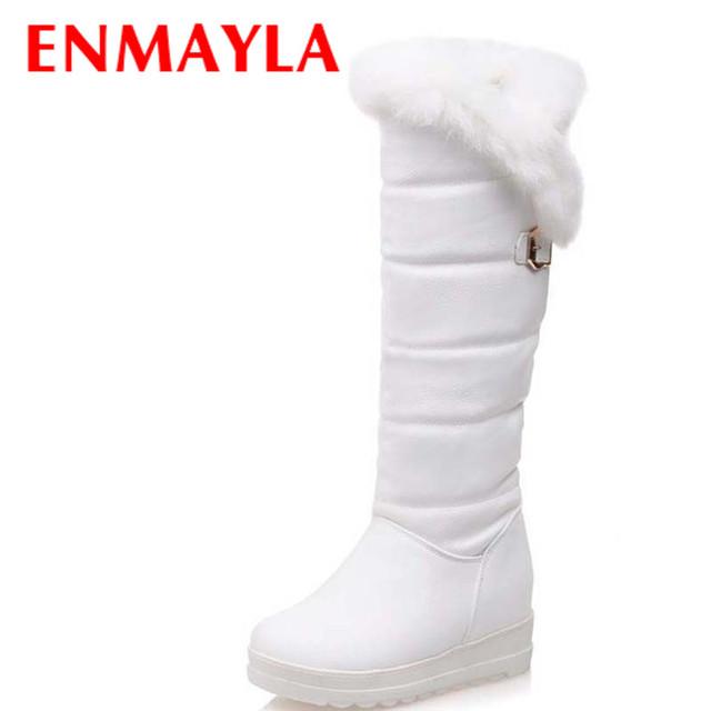 ENMAYLA Coelho Dedo Do Pé Redondo Botas de Inverno Mulheres Joelho Botas De Cano Alto Tamanho 34-42 Preto Branco Vermelho Sapatos de Plataforma Mulher Botas De Neve Pele Morno