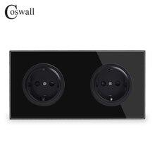 Coswall קריסטל מזג זכוכית טהורה שחור פנל 16A כפול איחוד אירופי תקן שקע חשמל לשקע מוארק ילד מגן דלת