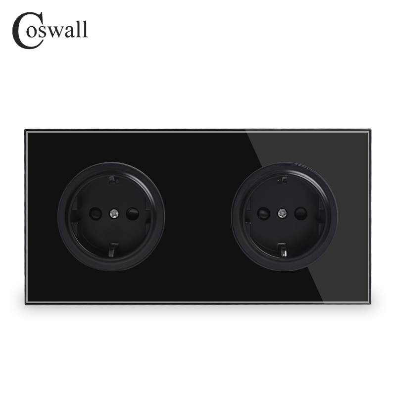 Coswall Crystal Tempered Pure Glass Black Panel 16A Double EU Standard Wall Power Socket Outlet Grounded Child Protective Door