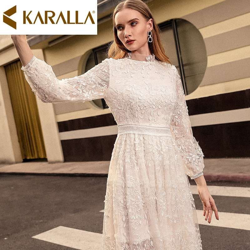 Top Quality Lace Dress Spring/Summer 2019 New Long-sleeved High-waisted Fairy Dress Temperament Ladies Slim Dress C1286
