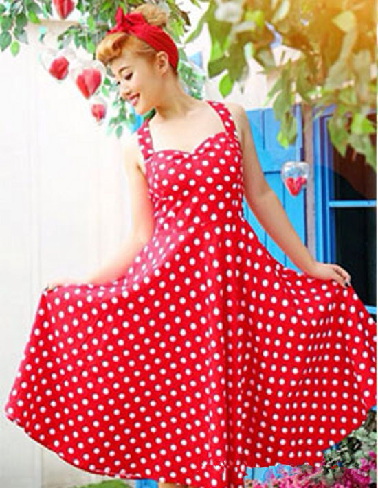 891b5427a076 Summer Style Lady Retro Audrey Hepburn Vestidos Women Vintage 50s Dress Big Swing  Polka Dot Backless Rockabilly Dress Plus Size-in Dresses from Women s ...