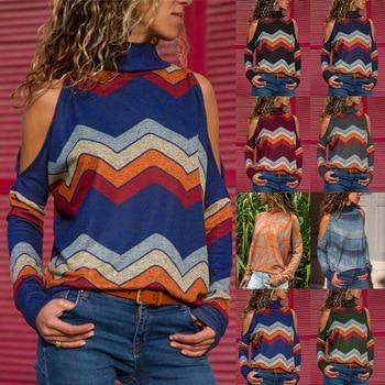 цена на NEW Women Geometric Floral Print Jumper Ladies Cold Shoulder Blouse Top Bohemian long sleeve women chemise feminina