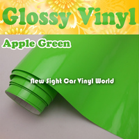 High Quality Apple Green Glossy Vinyl Wrap Gloss Green Wrap Film Air Free Release For Car Decals Size:1.52*30m/Roll(5ft * 98ft)
