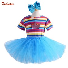 Kids Baby Girls Clothes Short Sleeve Round Neck Pullover With Tutu Tkirts Headband 3pc Rainbow Cotton Tops Outfits 2-10 Years