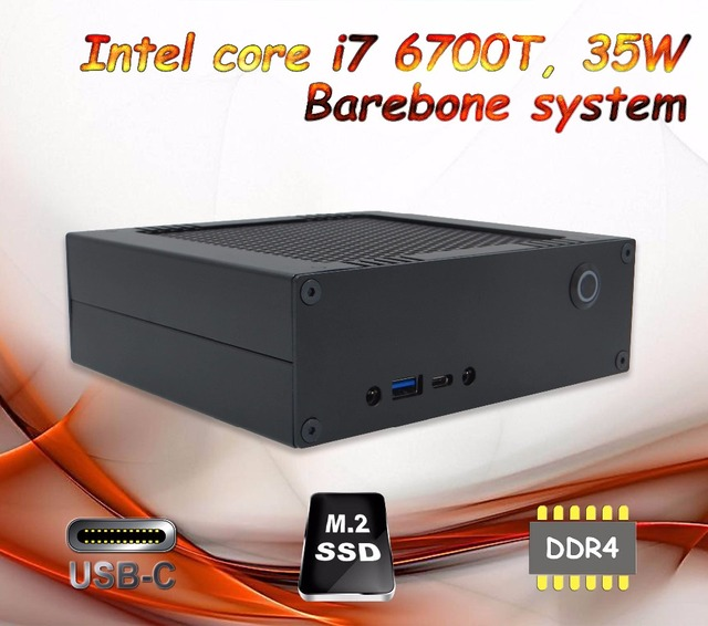 ICELEMON The smallest DIY mini computer with Intel i7 6700T, HTPC gaming box, pre-installed windows 10 64 bit, Barebone system