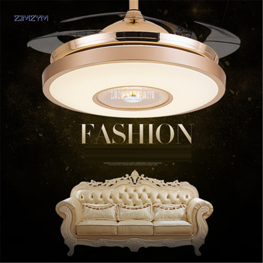 Ceiling Lights & Fans 42 Inch Modern Invisible Fan Lights Acrylic Leaf Led Ceiling Fans 110v-220v Wireless Remote Control Ceiling Fan Light 42-yx0098