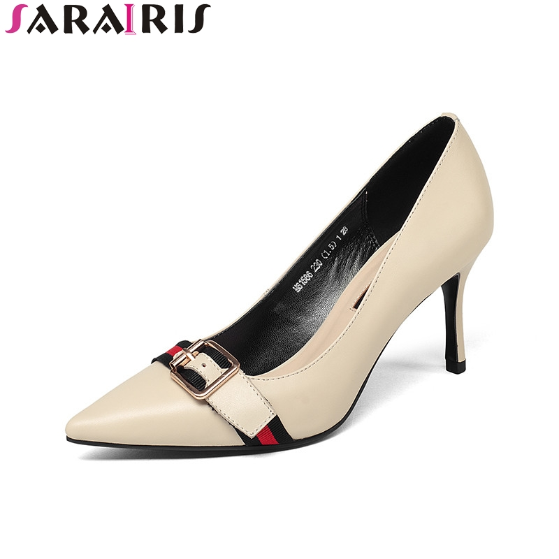 SARAIRIS 2018 Spring Autumn Brand New Arrival Women Beige Genuine Leather Pumps Shallow Ol Shoes Woman Sexy High Heels Shoe serene brand new arrival autumn