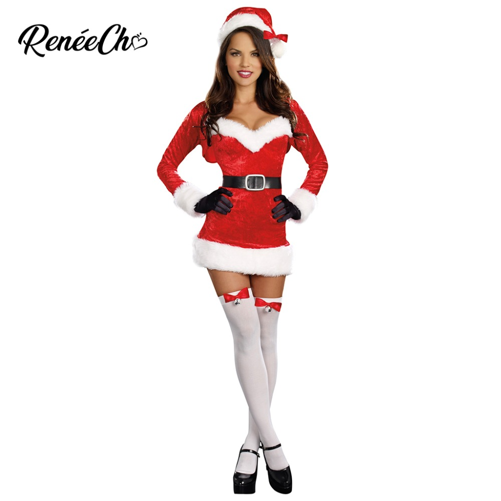 Christmas Costume Woman Santa Claus Dress Sexy Santa Baby Costume 2018 Red Mrs Claus Cosplay Dress Coat Hat Stocking Suit