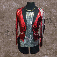 2017 font b Men s b font new red sequined suit dress costumes night games singer