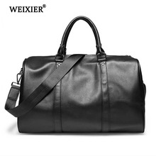 WEIXIER PU Leather Large Capacity Men New Quality Travel Bags Luggage For Fashion Duffle Bag Shoulder Strap Duffel