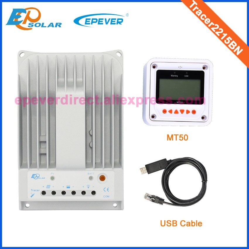 Régulateur de 20 ampères EPEVER système de panneaux solaires EPSolar régulateur MPPT avec câble USB et compteur à distance MT50 20A Tracer2215BN