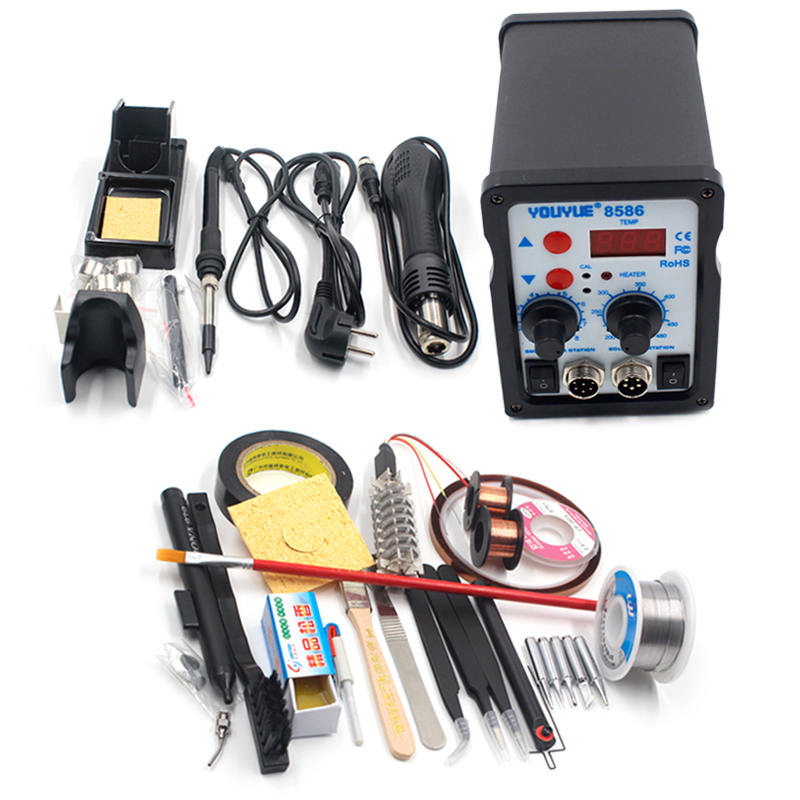 YOUYUE 8586 Electric Soldering iron 220V 700W 2 in 1 BGA SMD Soldering Rework Station Hot Air Gun welding tool soldering station saike 8586d 2 in 1 hot air soldering station desoldering smd rework station hot gun soldering iron 220v 700w
