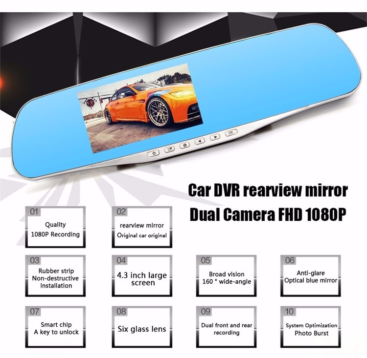 FHD 1080P car camera 4.3-inch Mirror Rearview screen dual lens Car DVR Night Vision rearview mirror auto dvrs Stop Recording 2