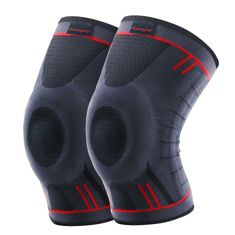 ae6cf2546f 2 Pcs Kuangmi Compression Knee Sleeve Support Sports Spring Brace Silicone  Pads Basketball Kneepad Patella Knee