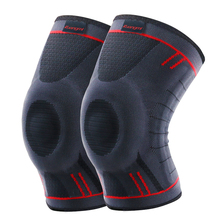 1 Pair of Kuangmi Elastic Patella Health Care Breathable Knee Strap Brace Pads Basketball Sports Support Protection Kneepad Gray цена