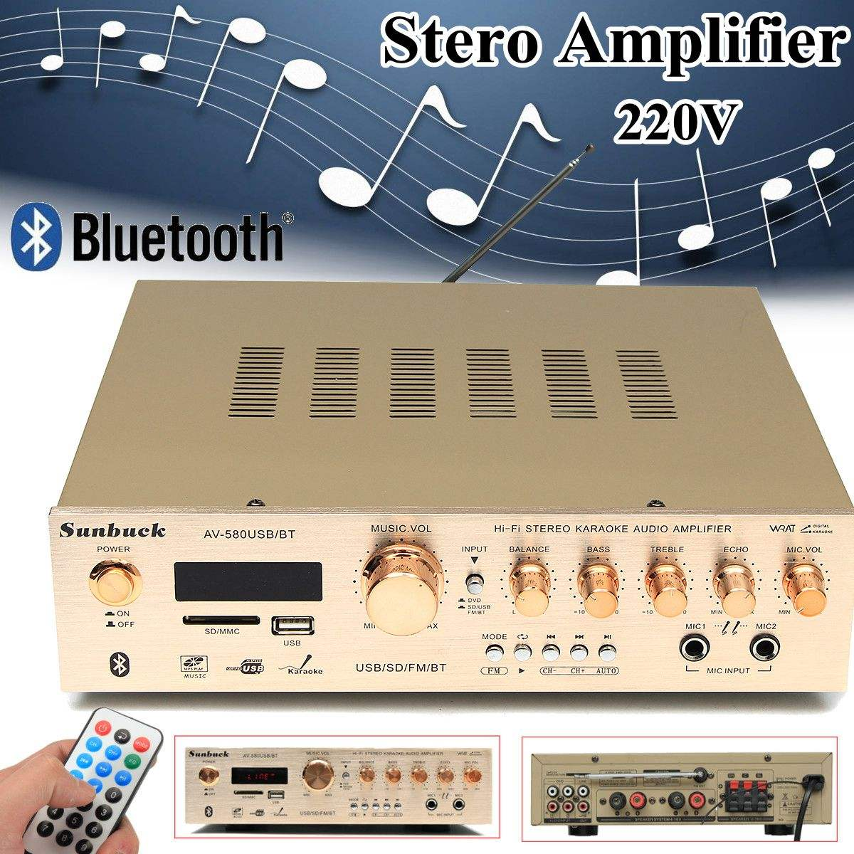 580bt 5ch 220v Stereo Amplifier Sound Mode Audio Music Booster Card Cheap Remote Control Built In Bluetooth For Car Home Multichannel Amplifiers From