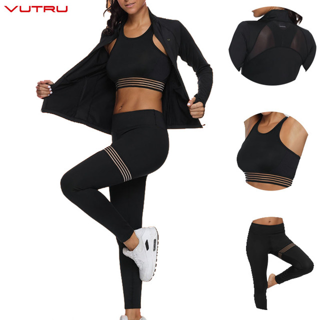 3ccf6dd818d Vutru 3 Pieces Sports Suits Long Sleeve Women Yoga Set Mesh Strapped Fitness  Gym Sportswear Crop