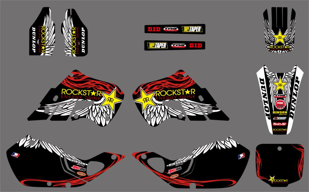 NICECNC 7 Styles New Team Graphic Background Stickers And Decals Kit For Honda CR125 CR 125