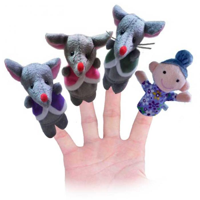 5 Pcs Frog Hen Mouse Animals Story Telling Finger Puppets 5