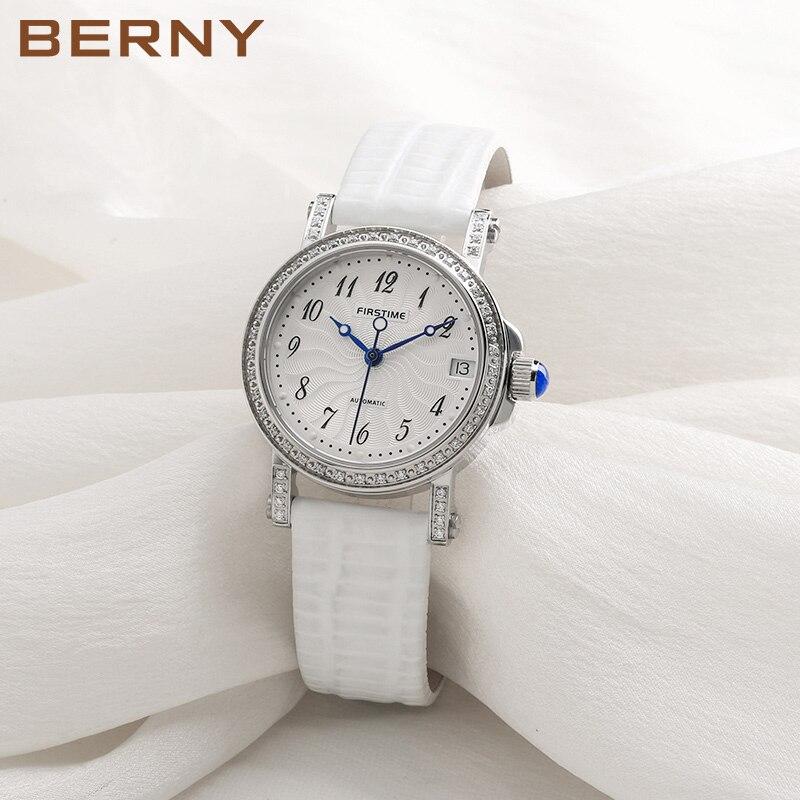 Берни Для женщин Watch automatic механические леди Часы Модный Топ бренд класса люкс Relogio Montre Saat feminino; bayan Япония движение