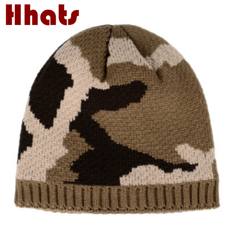 Thick Warm Fleece Inside Camouflage Winter   Skullies     Beanie   For Men Outdoor Windproof Plus Velvet Camo Male Hat Cap Knitted Hat