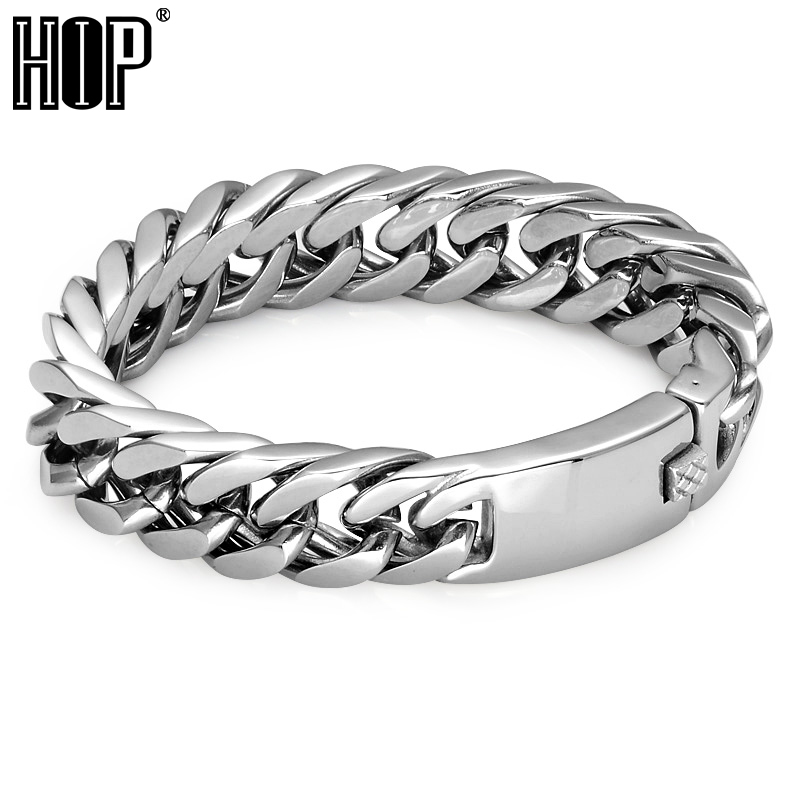 HIP Heavy Rock Curb Link Chain Bracelet Bicycle Motorcycle Double Layer 316L Stainless Steel Charm Bracelets For Men Jewelry 23mm width punk stainless steel bracelet men double biker bicycle motorcycle chain men s bracelets mens big bracelets