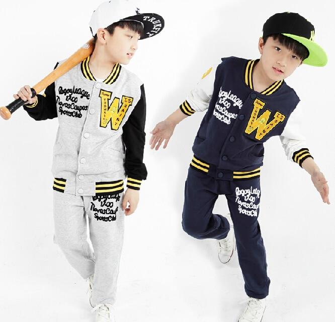 ФОТО New Autumn 2016 Children's  Boys Letter & Button Clothes Set Child Outerwea &Coats Boy Baseball Clothing Set Sports Suit For Boy