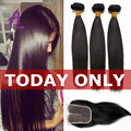 7A Straight Brazilian Virgin Hair With Lace Closure Unprocessed Human Hair Weave 3 Bundles With Lace Closure Straight Hair