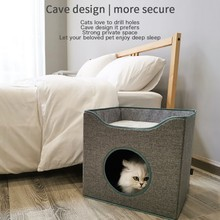 лучшая цена Practical Concise Hot-selling Durable Enclosed Deep Sleep Square Collapsible Cat House
