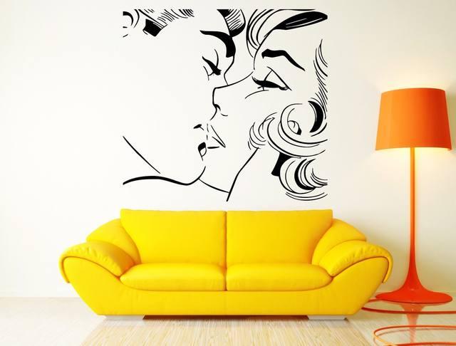 Online Shop 2016 new couple kiss Wall Sticker Kiss Kissing Couple ...