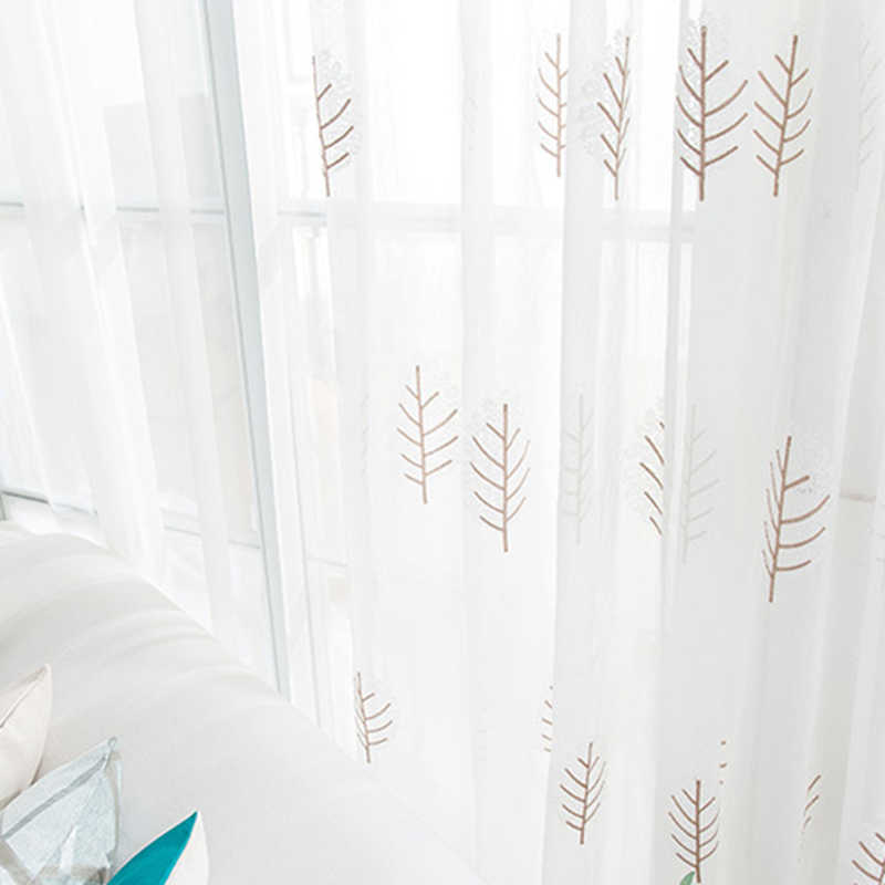 Modern Nordic Style Embroidery Pink Leaves Pattern Curtain Tulle for Bedroom French Door Kitchen Curtain Sheer Voile Drape M0963