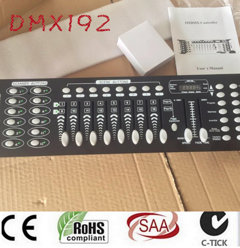 dj 192 DMX controller, for stage lighting 512 dmx console DJ controller equipment dmx512 digital display 24ch dmx address controller dc5v 24v each ch max 3a 8 groups rgb controller