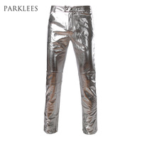 Side Zipper Design Moto Jeans Style Metallic Gold Pants Straight Leg Trousers Casual Slim Fit Motorcycle