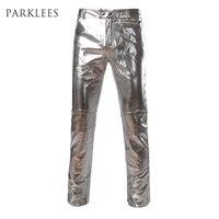 Yan Fermuar Tasarım Moto Kot Tarzı Metalik Altın Pantolon/Düz Bacak Pantolon Rahat Slim Fit Motosiklet PU Deri Parlak pantolon
