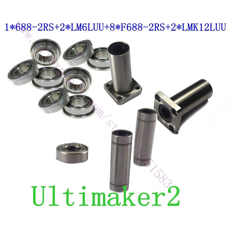 3D Imprimante UM2 Ultimaker 2 Balle Roulements NSK + Carré Bride Roulement Linéaire, 2 * LMK12LUU + 2 * LM6LUU + 1 * 688-2RS + 8 * F688-2RS