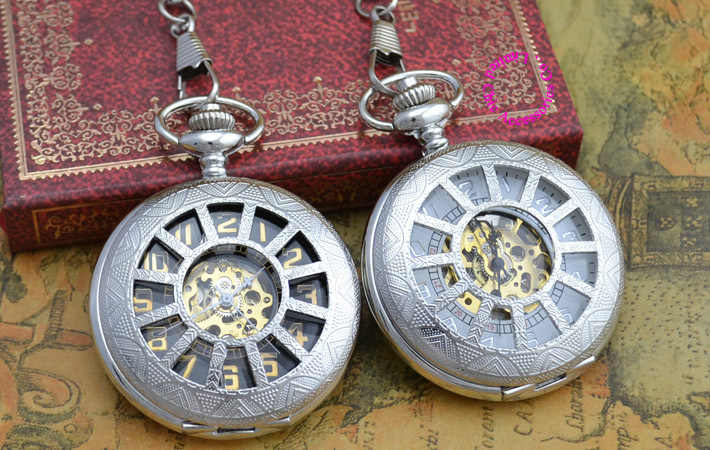 Wholesale Mechanical Pocket Watch Men Good Quality Fob Watches Vintage Retro Farther New Fashion Silver Antique Fob Watches Dad