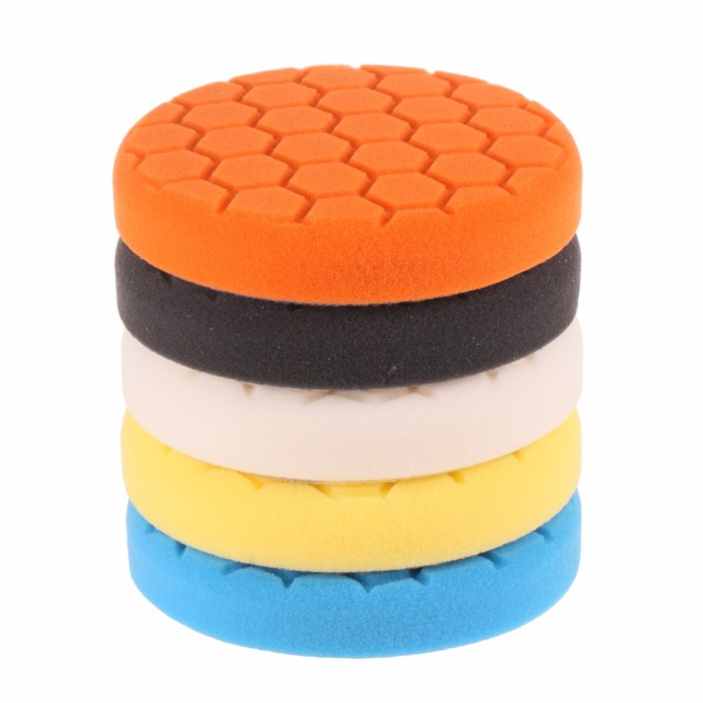 SPTA 6 inch (150mm) Mix Hardness Mix Color Buffing Pad Polishing Pad Kit For Car Polisher-Professional Quality Pack of 5Pcs