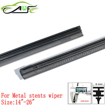 Auto Car Metal stents wiper refills Rubber strip width 6mm length 14 16 17 18 19 20 21 22 24 26 350-650mm 2 piece/pair image