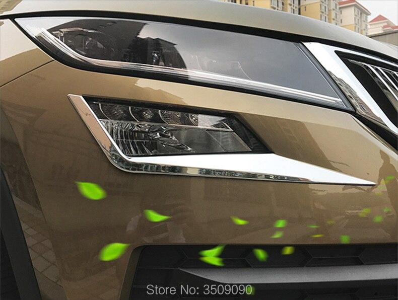 For 2017 2018 Skoda Kodiaq Car Front Fog Light Lamp Eyebrow Cover Frame Trim Car Styling