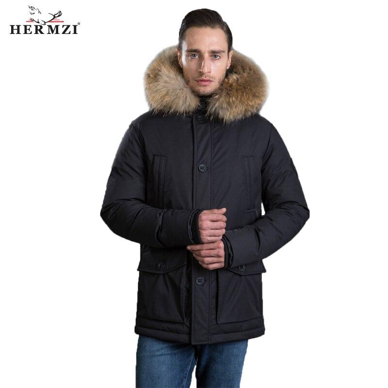 HERMZI 2019 Men Winter Jacket Parka Homme Thicken Padded Coat Winter Hooded Jacket Raccoon Fur Long Coat Men Parka European Size