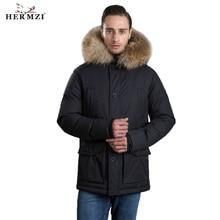HERMZI 2019 Men Winter Jacket Parka Homme Thicken Padded Coat Hooded Raccoon Fur Long European Size