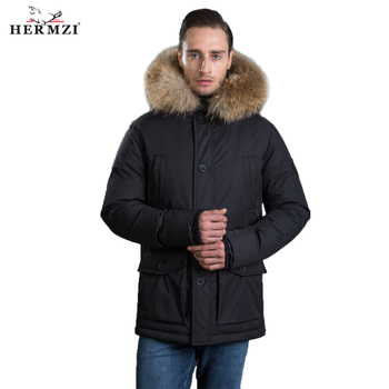 HERMZI 2020 Men Winter Jacket Parka Homme Thicken Padded Coat Winter Hooded Jacket Raccoon Fur Long Coat Men Parka European Size men winter jacket workwear hooded reflective thicken padded cotton clothes wear resistant work safety jacket workshop coat