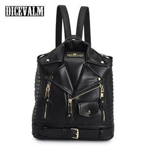 Image 1 - 有名なブランドの女性のバックパック革ブラックバックパックスクールバッグ十代の少女旅行バックパック女性のスーツの肩バッグ