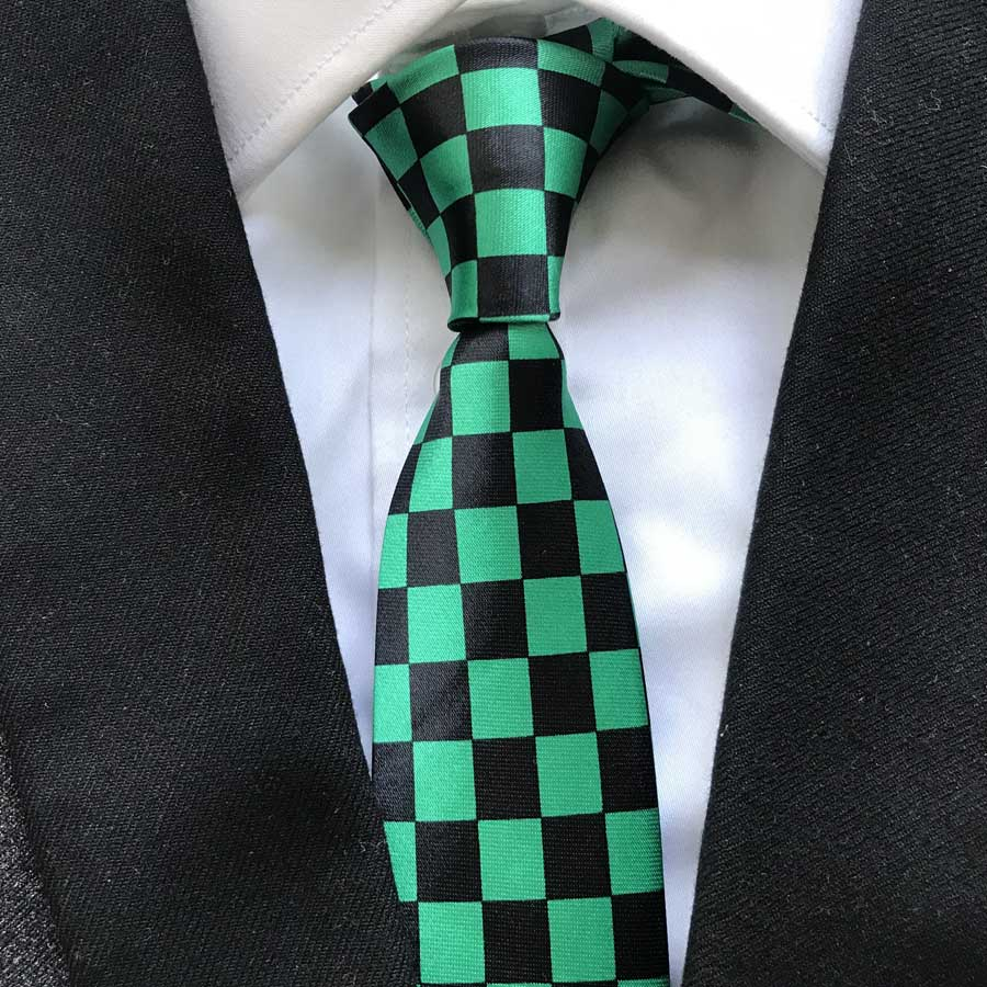 HOT Fashion Narrow Ties Black With Green Checkered Necktie Unique Gravatas Free Shipping