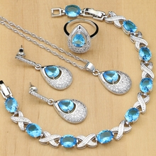 925 Silver Jewelry Sets Sky Blue Zircon White Crystal Beads For Women Party Earrings/Rings/Bracelet/Necklace Set Dubai Jewelry bright dubai jewelry sets blue african costume jewelry sets indian beads necklace set christmas boutonniere bridal party gift