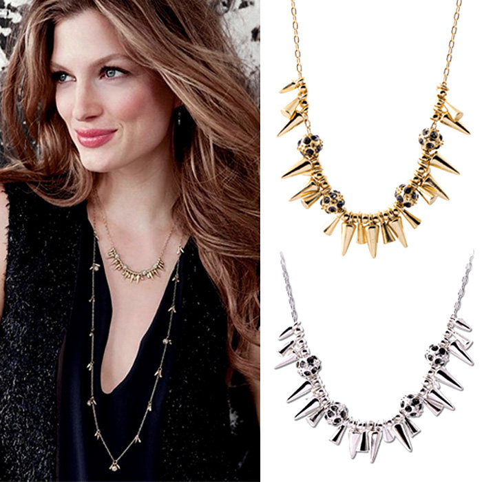 Womens Necklaces Gold & Silver Punk Rivet Multi Spike Fringe Crystal Ball Princess Short Necklace Fashion Jewelry Free Shipping