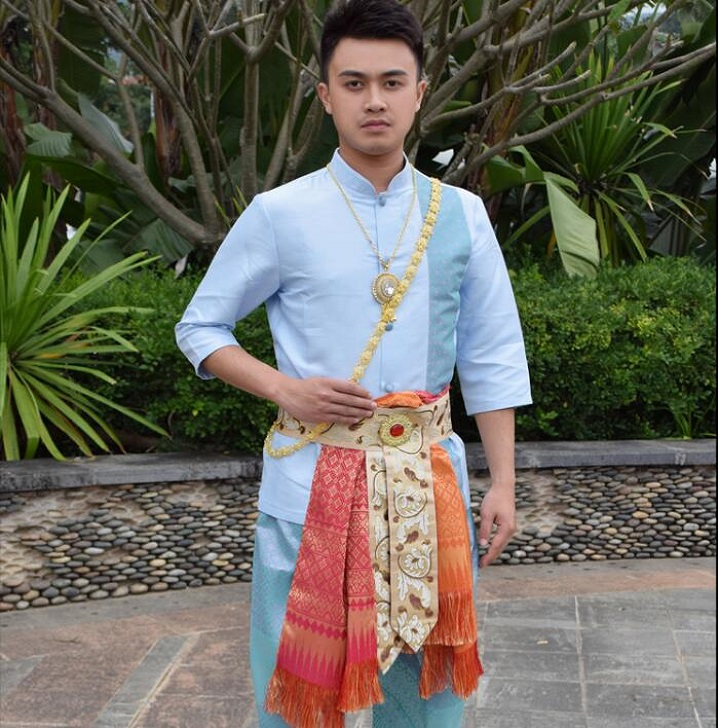 Blue short sleeve Shirt + Pants + Waist Band stage performance Clothing Thailand Dai Prince Costume Dai traditional man Outfit