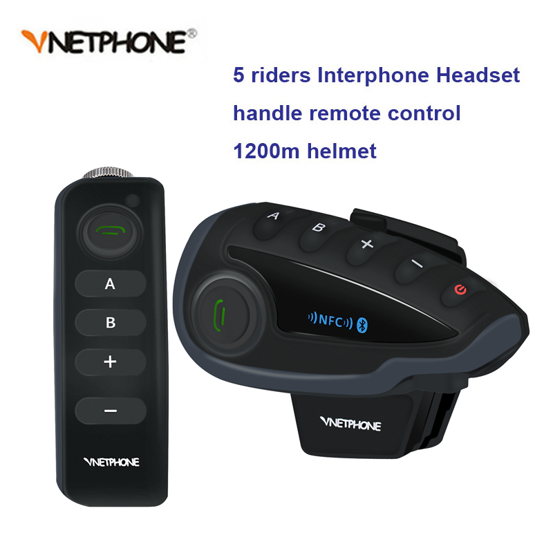 New 1200M V8 BT Bluetooth Motorcycle Helmet Intercom For 5 Riders Interphone Headset NFC/Telecontrol  Remote Control FM  Radio